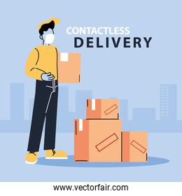 contactless delivery, man courier in a mask delivers boxes, safe delivery