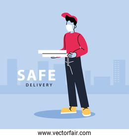 safe delivery, man courier in a mask delivers food, contactless delivery