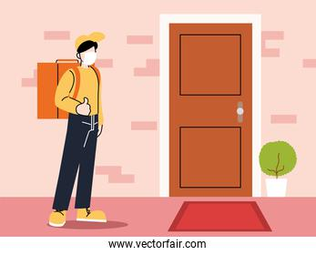 safe food delivery, man courier with face mask and delivery backpack