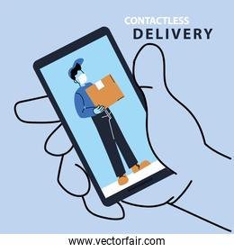 contactless delivery, safe courier by covid 19, order goods online by smartphone