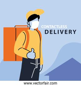 contactless delivery, man courier with face mask and delivery backpack