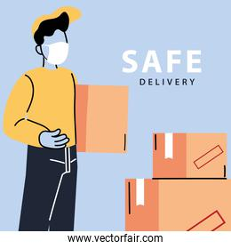 safe delivery, man courier in a mask delivers boxes, contactless delivery