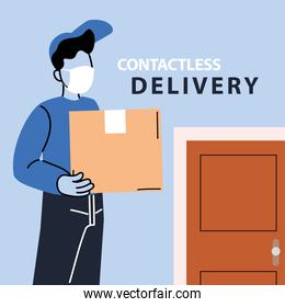 contactless deliver, man courier in a mask delivers goods to the door