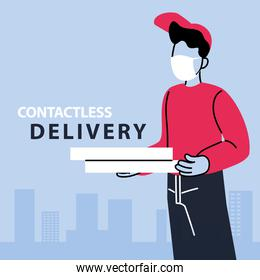 contactless delivery, man courier in a mask delivers food, safe delivery