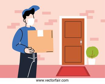 safe delivery, man courier in a mask delivers goods to the door, contactless deliver