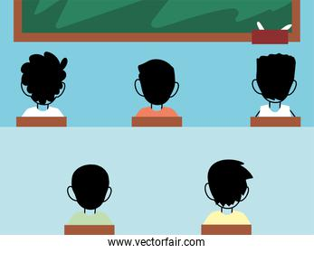 kids students wearing face mask in class, social distancing