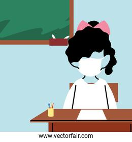 girl with a face mask in the classroom, protection from coronavirus or covid 19