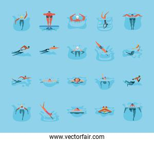 set of icons with people in swimming