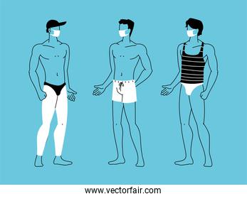 men at the beach wearing face mask
