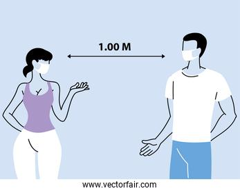 social distancing between two person, keep a distance to protect from coronavirus outbreak spreading