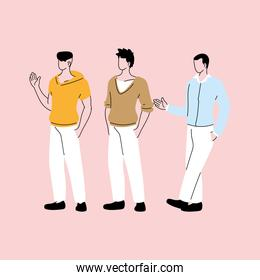 men standing in different poses, diversity of people
