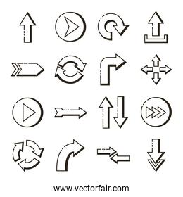 bundle of arrows set icons