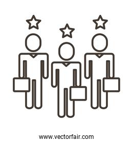 businessmen teamwork figures with stars line style icon