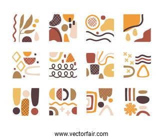 bundle of contemporary arts works set icons