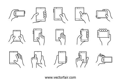 bundle of hands and smartphones set icons