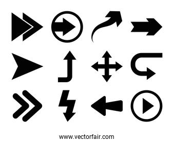 play arrow and arrows symbols icon set, silhouette style