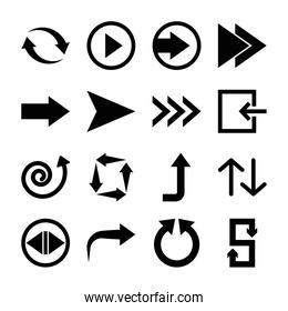 right arrow and arrows symbols icon set, silhouette style