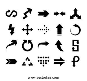 shapes arrow and arrows icon set, silhouette style