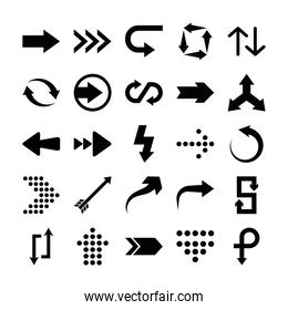 dotted arrows and arrows symbols icon set, silhouette style