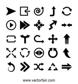 spiral arrow and arrows icon set, silhouette style