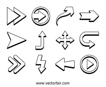 play arrow and arrows symbols icon set, line style