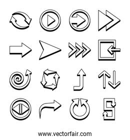 right arrow and arrows symbols icon set, line style