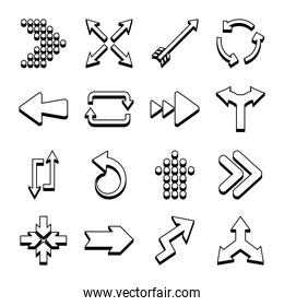 bent arrows and arrows icon set, line style