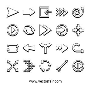 four arrows pointing and arrows symbols icon set, line style