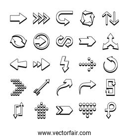 dotted arrows and arrows symbols icon set, line style