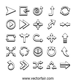 spiral arrow and arrows icon set, line style