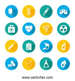 set of microscope and medical icons, block style