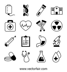 set of microscope and medical icons, line style