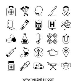 ambulance and medical icon set, line style
