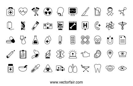 medical icons set, line style
