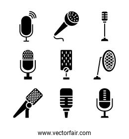 podcasting and retro microphones icon set, silhouette style