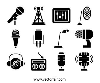 desk microphone and microphones icon set, silhouette style