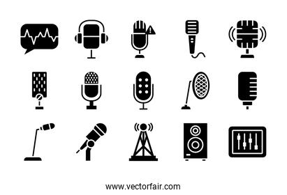 speaker and retro microphone icon set, silhouette style