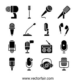 earphones and microphones icon set, silhouette style