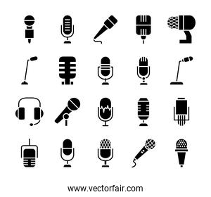 headphones and microphones icon set, silhouette style