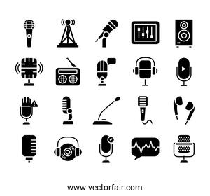conference microphone and retro microphone icon set, silhouette style