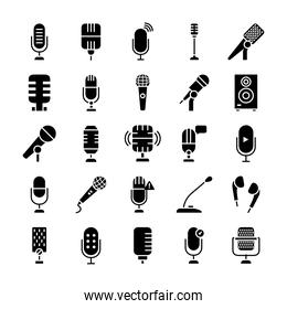 retro microphones and microphones icon set, silhouette style
