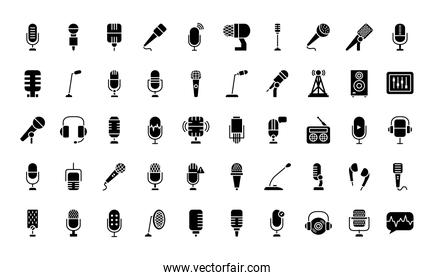 podcast and microphones icon set, silhouette style