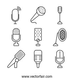 podcasting and retro microphones icon set, line style