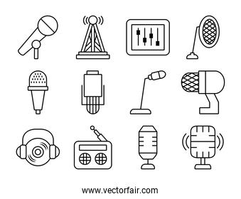 desk microphone and microphones icon set, line style