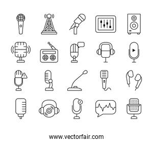 conference microphone and retro microphone icon set, line style