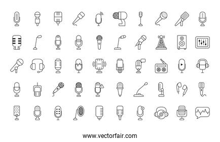 podcast and microphones icon set, line style