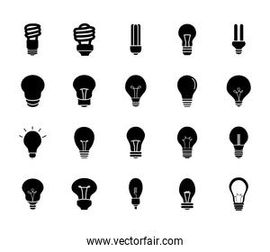 twisted lightbulbs and lightbulbs icon set, silhouette style
