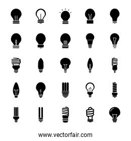 flame bulb light and bulb lights icon, silhouette style