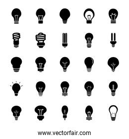 led lightbulbs and lightbulbs icon set, silhouette style