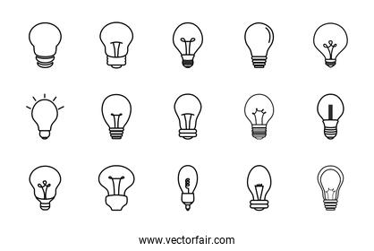 candle bulb light and lightbulbs icon set, line style